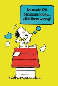 Vintage Snoopy magazine cover poster - 120 decisions today